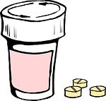 Tablettendose mit Abnehmpillen rechts daneben.